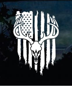 Cool Stickers - Deer Skull Hunting Flag Decal