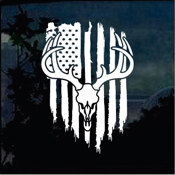Deer Skull Hunting Flag Decal Sticker Custom Sticker Shop