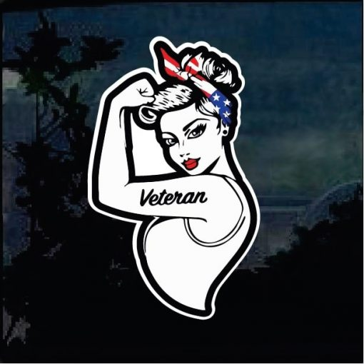 Cool Stickers - Marines Veteran female Full Color Decal