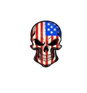 Hard hat stickers - American Flag Skull