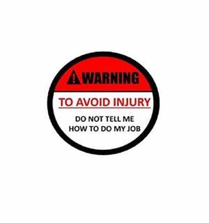 Hard hat stickers - Avoid Injury Warning Job