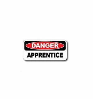 Hard hat stickers - Danger Apprentice