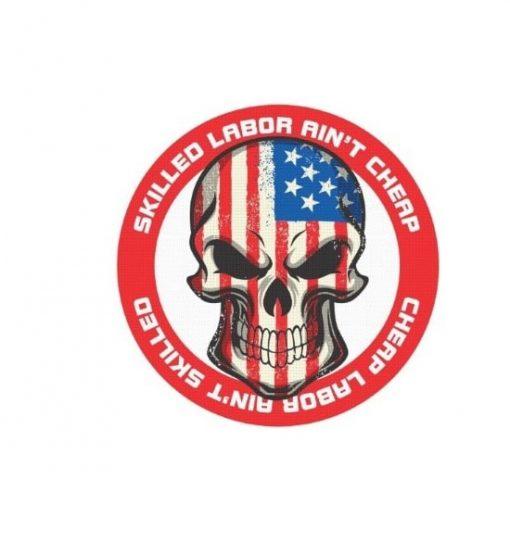 Hard hat stickers - Skilled Labor skull