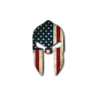 Hard hat stickers - Spartan Helmet American Flag