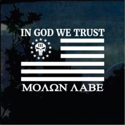 Truck Decals - In God we Trust Molon Labe Flag