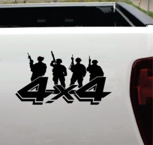 4x4 Decals - 4x4 Soldier Military Silhouette Sticker