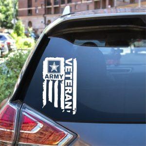 Army Veteran Army Weathered Flag Sticker