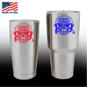 Yeti Decals - Cup Stickers - Marine Veteran Skull