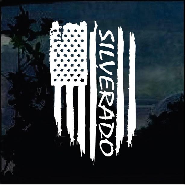 Chevy Silverado Weathered Flag Decal Sticker Custom