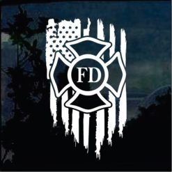 Cool Stickers - Fireman Fire Dept Weathered Flag Decal
