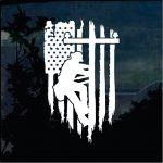 Lineman Weathered Flag Decal Sticker