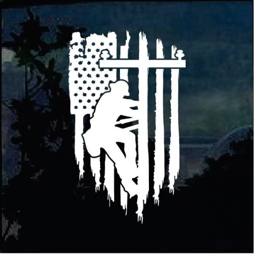 Cool Stickers - Lineman Weathered Flag Decal