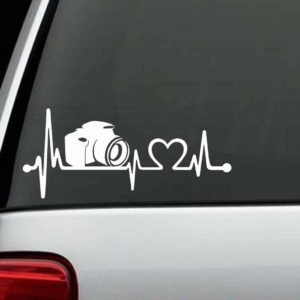 Car Decals - Camera Photographer Heartbeat Love Sticker