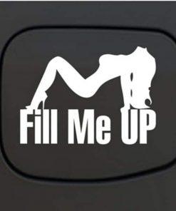 Car Decals - Fill Me Up Sexy Mudflap Girl Fuel Door Sticker