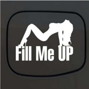 Car Decals - Fill Me Up Sexy Mudflap Girl Fuel Door Sticker