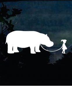 Car Decals - Girl walking Hippo Sticker