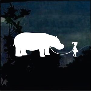 Car Decals - Girl walking Hippo Sticker