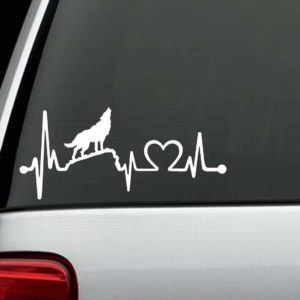 Car Decals - Howling Wolf Heartbeat Love Sticker