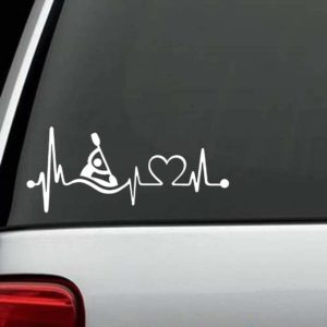 Car Decals - Kayak Heartbeat love Sticker