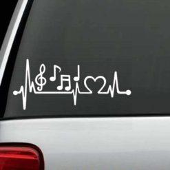 Car Decals - Music Notes Heartbeat love Sticker