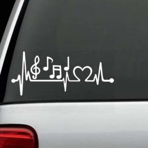 Car Decals - Music Notes Heartbeat love Sticker