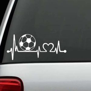 Car Decals - Soccer Ball Heartbeat Love Stickers