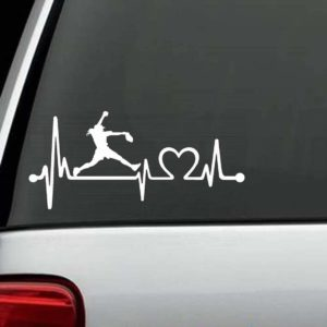 Car Decals - Softball Pitcher Heartbeat love Sticker