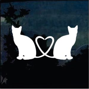 Cat Stickers - Cat Tails Heart Decal