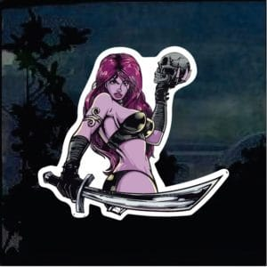 Cool Stickers - Warrior Princess Holding Skull decal