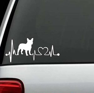 Dog Stickers - French Bulldog Heartbeat Love Decal