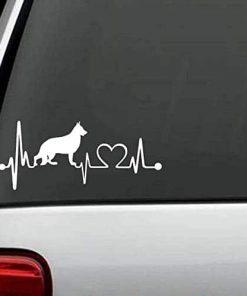 Dog Stickers - German Shepherd Heartbeat Love Decal