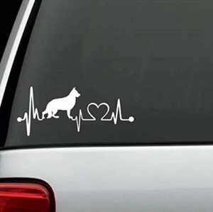 Dog Stickers - German Shepherd Heartbeat Love Decal