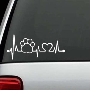 Dog Stickers - Paw Print Heartbeat Love Decal