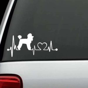 Dog Stickers - Poodle Heartbeat Love Decal
