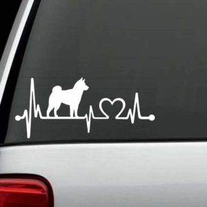 Dog Stickers - Shiba Inu Heartbeat Love Decal