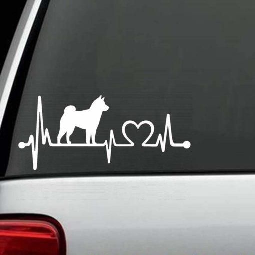 Dog Stickers - Shiba Inu Heartbeat Love Decal