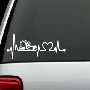 Fireman Firefighter Decal - Heartbeat Love Sticker