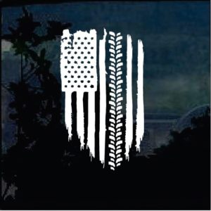 Truck Decals - American Flag Weathered flag tire tread Sticker