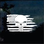 American Flag Weathered Punisher Skull Truck Decal Sticker