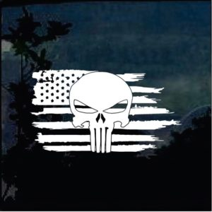 Truck Decals - American Flag Weathered Punisher Sticker