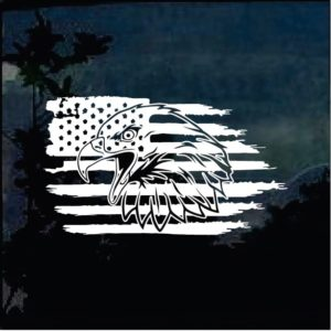 Truck Decals - Bald Eagle Weathered American Flag Sticker