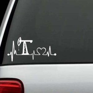 Truck Decals - Oilfield Rig Heartbeat Love Sticker