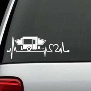 Truck Decals - Pop Up Camper Heartbeat Love Sticker