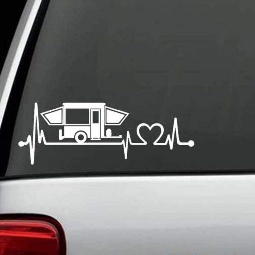 Truck Decals - Pop Up Camper Heartbeat Love Sticker
