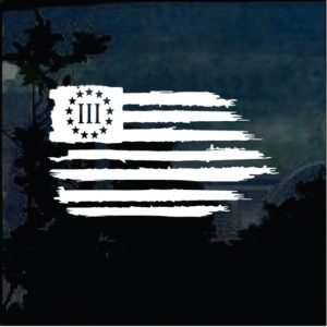 Truck Decals - weathered flag 3 percenter