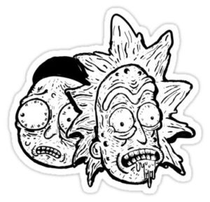 cool stickers - Rick and Morty zombie BW Decal