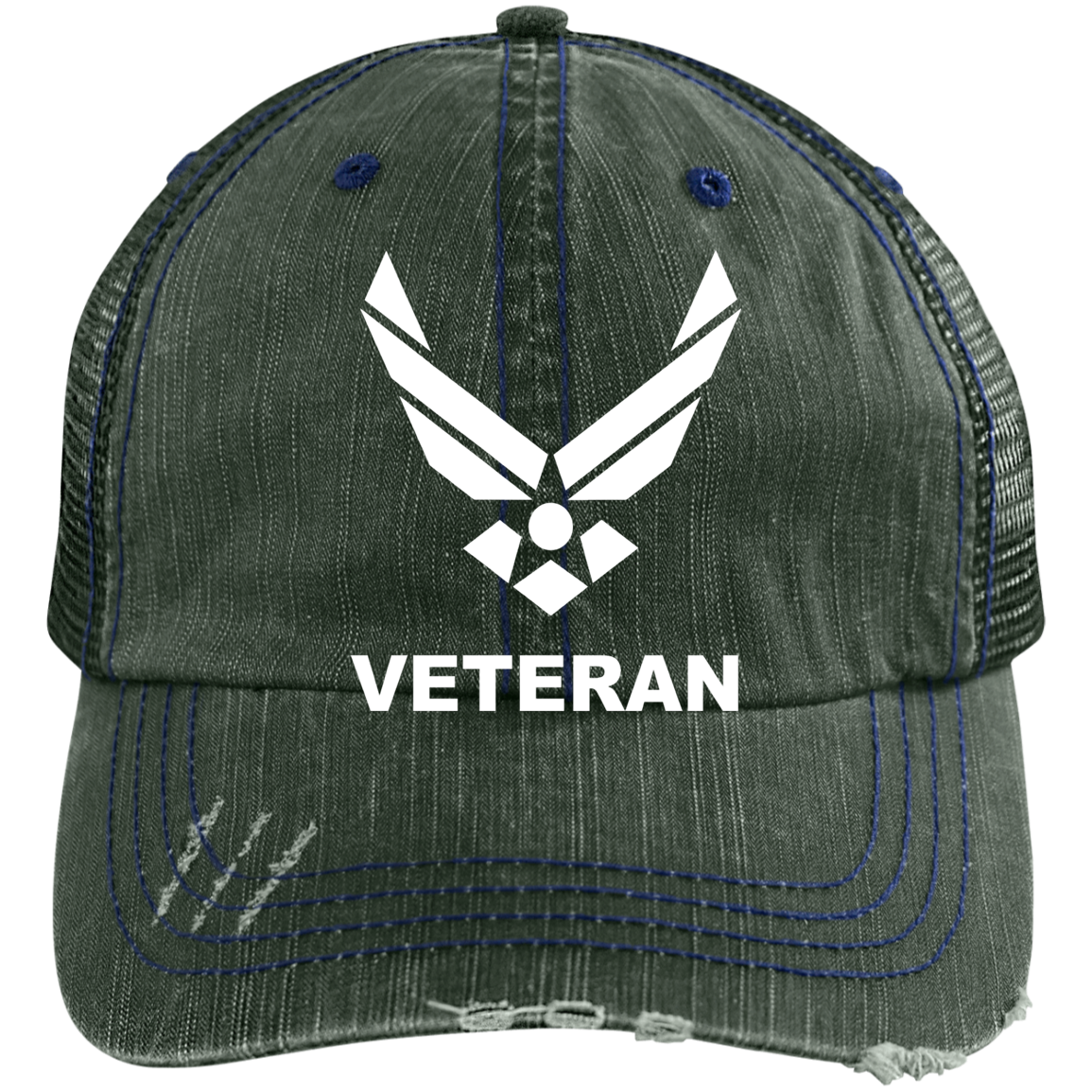 a6527b258f4 Air Force Veteran Embroidered Distressed Trucker Cap – Custom ...