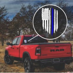 Blue Line Weathered Flag Decal Sticker
