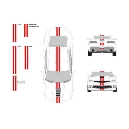 Chevy Camaro racing stripes set 3 inch with 1_4 pin stripes