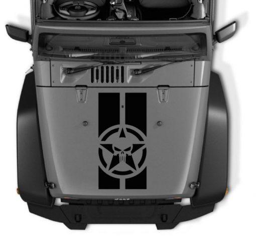 Jeep wrangler Hood Decal Punisher Star Stripe